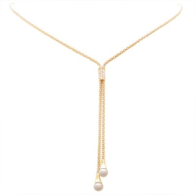 Sterling Silver Necklace Y Shaped Clear Cubic Zirconia Rectangular Mid with 2 Faux Pearl