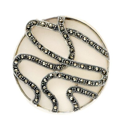 Marcasite Pendant 38mm Round White Mother of Pearl with 3 Marcasite Wavy Lines