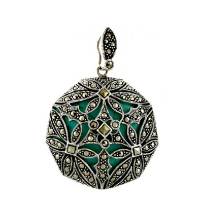 Marcasite Pendant Flower Motif Open Dome with Faux Turquoise Back