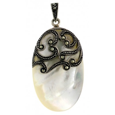 Marcasite Pendant 37X23mm Cabochon Oval White Mother of Pearl with Marcasite Fili
