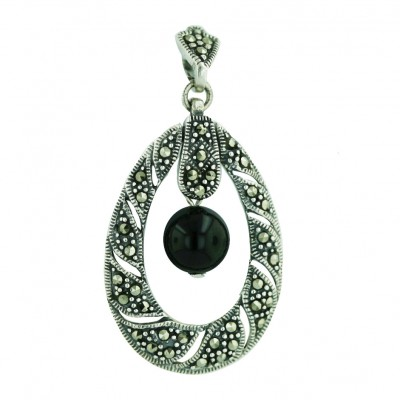 Marcasite Pendant Twisted Marcasite Open Tear Drop with 8mm Onyx Ball