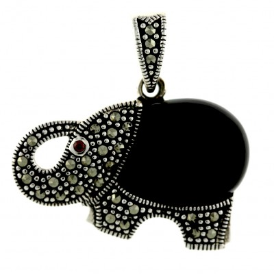 Marcasite Pendant Pave Marcasite+Onyx Elephant with Garnet Cubic Zirconia Eyes