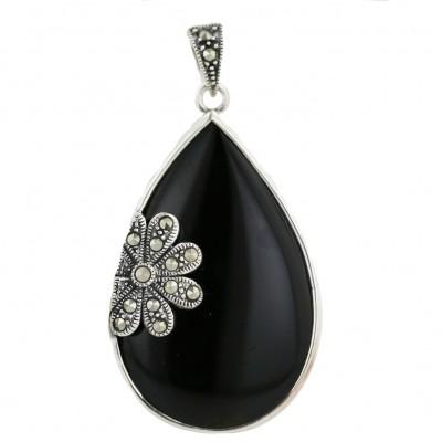 Marcasite Pendant Tear Drop Onyx with Marcasite Flower