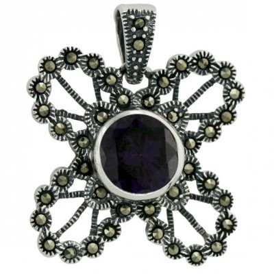 Marcasite Pendant Outer 10mm Ame Cubic Zirconia Bezel Open Butterfly