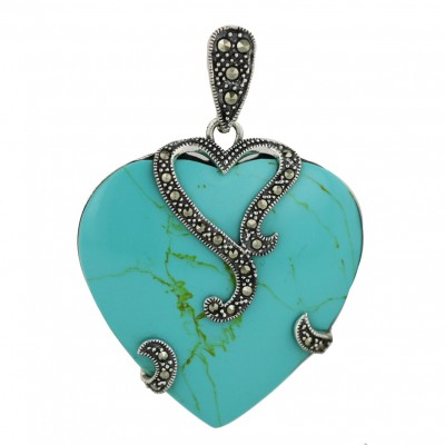 Marcasite Pendant (W=36mm) Faux Turquoise Heart with Marcasite Heart