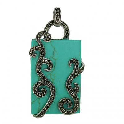 Marcasite Pendant 36X25mm Rectangular Faux Turquoise+Marcasite Swirl