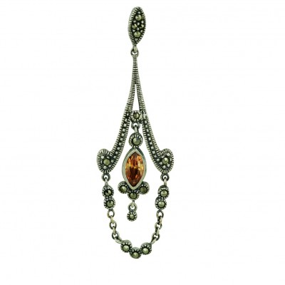Marcasite Pendant Champagne Cubic Zirconia Marquis Dangle Chandelier with Marcasite Drap