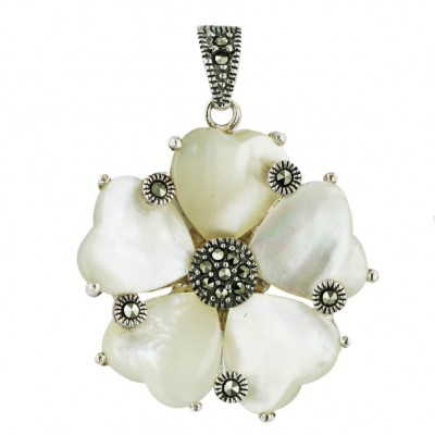Marcasite Pendant 5 White Mother of Pearl Heart Petal with Round Marcasite Between