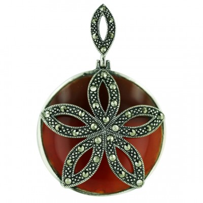 Marcasite Pendant 32mm Round Carnelian with Marcasite Flower