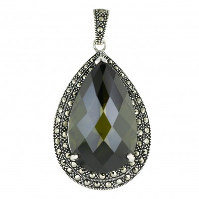 Marcasite Pendant 42X29mm Olivine Cubic Zirconia Tear Drop Chess Cut with Oxid