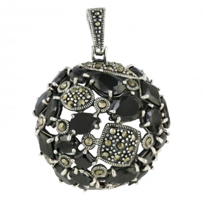 Marcasite Pendant 32mm Black Cubic Zirconia Round with Tear Drop+Rhombus+Marquis+