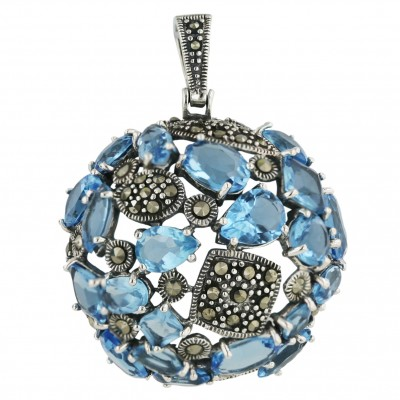 Marcasite Pendant 32mm Blue Topaz Glass Round with Tear Drop+Rhomb