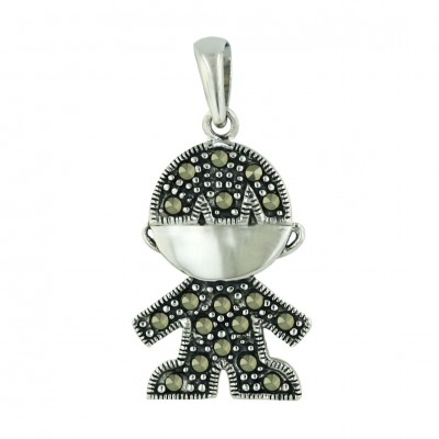Marcasite Pendant Silver Face with Pave Marcasite Body Boy