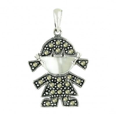 Marcasite Pendant Silver Face with Pave Marcasite Body Girl