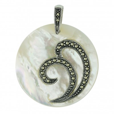 Marcasite Pendant 38X38mm White Mother of Pearl Round with Pave Marcasite Double S