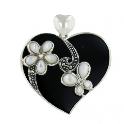 Marcasite Pendant 34X31mm Onyx Heart with White Mother of Pearl Flower+Butter