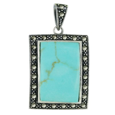 Marcasite Pendant 27X23mm Faux Turquoise Rectangular with Pave Marcasite Around Ben