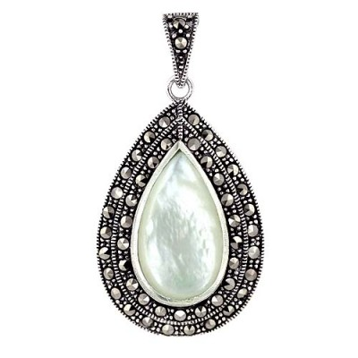 Marcasite Pendant 32X22mm White Mother of Pearl Tear Drop Bezel Set with Doubl