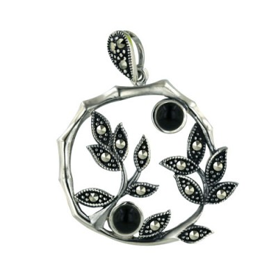 Marcasite Pendant 25X25mm Onyx with Pave Marcasite Leaves Open Round