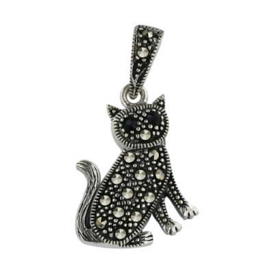 Marcasite Pendant of Cat with Onyx Eyes