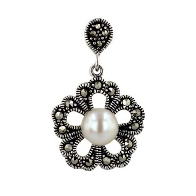 Marcasite Pendant Flower with Round Fresh Water Pearl Center