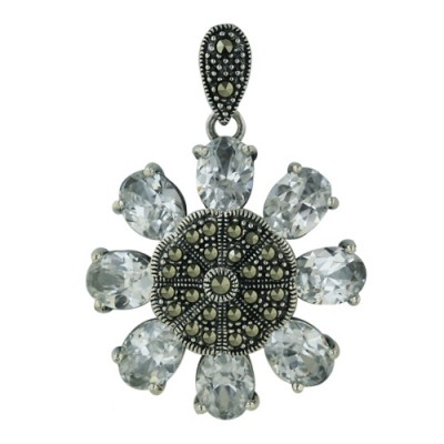 Marcasite Pendant Flower Shape with Clear Cubic Zirconia Petals 8mm/6