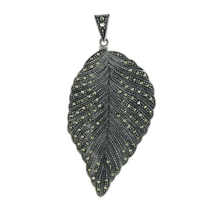 Marcasite Pendant Leaf with All Marcasite