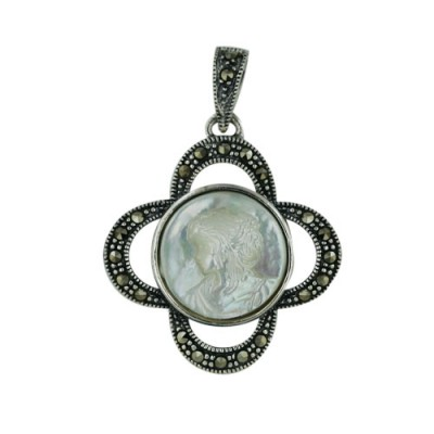 Marcasite Pendant Open Flower with 14.8mm Round Mother of Pearl Cameo with