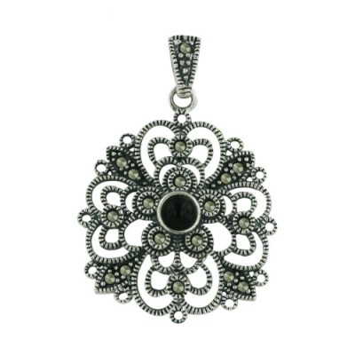 Marcasite Pendant 25-25mm Filigree with Onyx Center