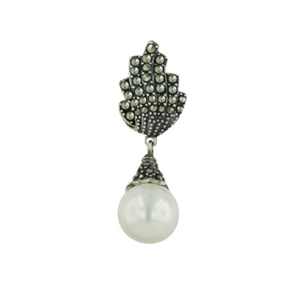 Marcasite Pendant Marcasite Torch Pave Top 10mm White Shell Pearl D