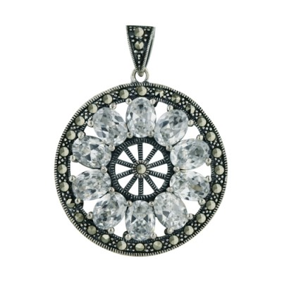 Marcasite Pendant Marcasite Wheel with 10Pcs Clear Cubic Zirconia