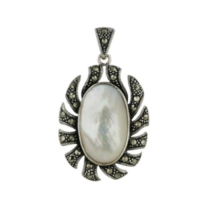Marcasite Pendant Marcasite Oval Sun 15X23mm Oval Mother of Pearl Cen