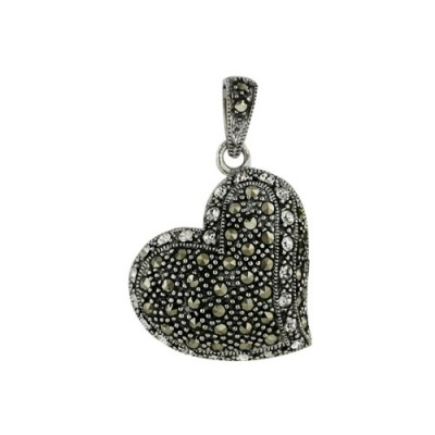 Marcasite Pendant Heart Clear Crystal Filigree Back