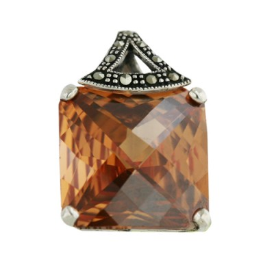 Marcasite Pendant 18mm Square Clear Cubic Zirconia Chess Cut