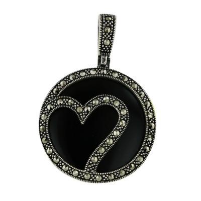 Marcasite Pendant Onyx Open Marcasite Circle+Heart