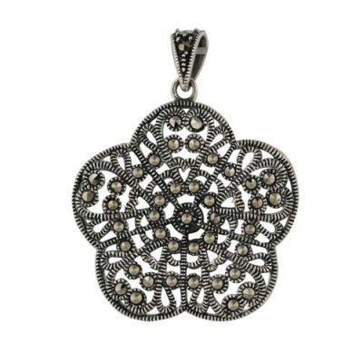 Marcasite Pendant Puffy Flower Covered in Marcasite
