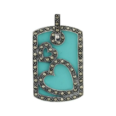 Marcasite Pendant Turquoise Dogtag Marcasite Top with Hear