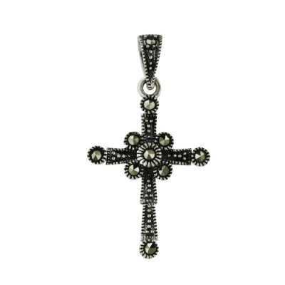 Marcasite Pendant Cross with Marc. on Ends and Center