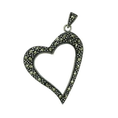 Marcasite Pendant Open Elonggated Slanted Heart