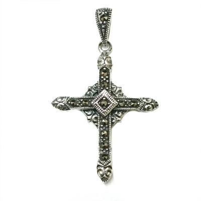 Marcasite Pendant Cross on Circle -E-coated/Black-
