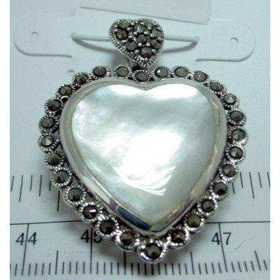 Marcasite Pendant Heart Mother of Pearl