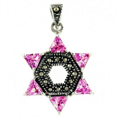 Marcasite Pendant Jewish Star Pink Cubic Zirconia