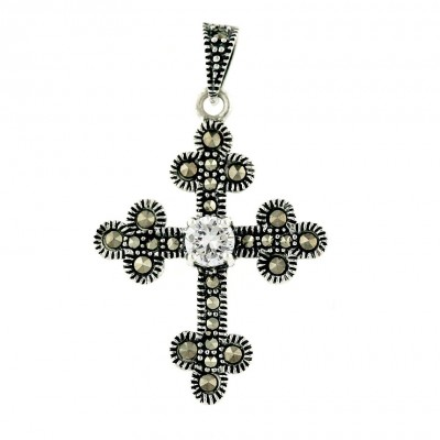 Marcasite Pendant Cross with Round Clear Cubic Zirconia in Center
