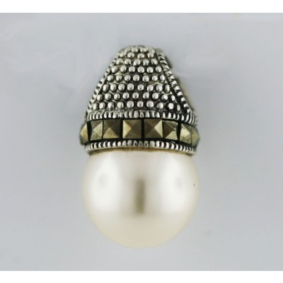 Marcasite Pendant 13mm White Pearl Square Cut Ball Marcasite Ar