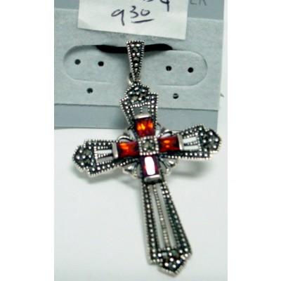 Marcasite Pendant Cross with 4 Pcs Baguette Garnet Cubic Zirconia
