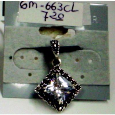 Marcasite Pendant Square Clear Cubic Zirconia