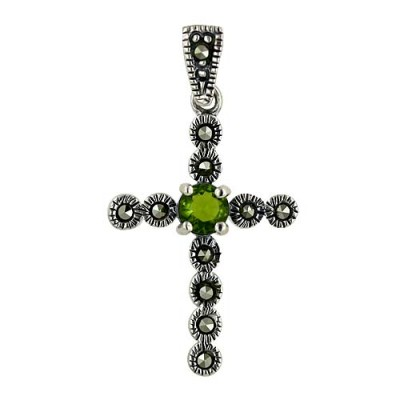 Marcasite Pendant Cross with Peridot in Middle