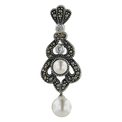 Marcasite Earring Dnagling White Pearl 1 Pcs Clear Cubic Zirconia