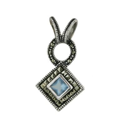 Marcasite Pendant Square Marcasite Around Rhombus Aqua Glass