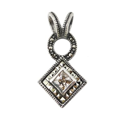 MS Pendant Square Ms Around Rhombus Champagne Cz